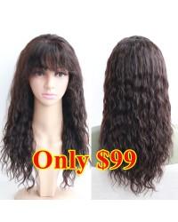 CC006-Water wave with bangs Silk Top closure wig Brazilian virgin human hair CLEARENCE SALE
