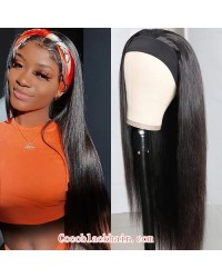 Rudy 05-Headband wigs silky straight Brazilian virgin human hair 150% density