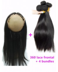 360 frontal with 4 bundles Brazilian virgin straight