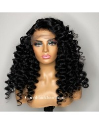 Angela 16-5x5 HD lace closure wig Spanish wave 10A grade Brazilian virgin human hair 150% density