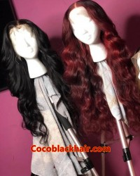 Emily37-Pre plucked Brazilian virgin straight wave 360 wig