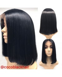 Bola-Straight bob wig with middle parting glueless full lace with silk top Brazilian virgin human hair