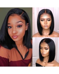 Lala-Brazilian virgin straight bob 4*4 lace closure wig