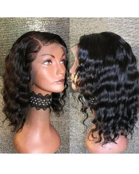 Emily26-Brazilian virgin tropic wave bob 360 lace frontal wig