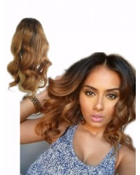 Vickey- Chinese virgin light yaki body wave ombre full lace wig