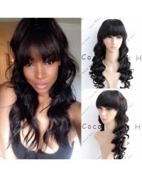 Casey-Brazilian virgin wave bangs 360 wig