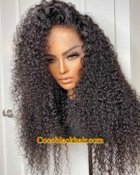 【50% Off】Tyrra-HD Lace front Wig wet curly Brazilian human hair 13x6 wig glueless lace front Pre plucked hairline bleached knots
