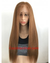 SP001-Brazilian virgin pre plucked yaki straight silk top full lace wig