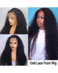 Edna-Brazilian virgin human hair spiral curly 13x6 glueless lace front wig Pre plucked hairline