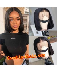 Nana-Middle parting bob 13x6 glueless wig Brazilian virgin Pre plucked