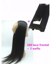 360 lace frontal with 3 wefts Brazilian virgin yaki straight