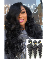 Malaysian virgin 3 bundles loose wave hair weaves