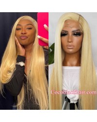 Gina-Transparent lace Blonde 613 color 13x6 glueless lace front wig Brazilian virgin human hair Pre plucked