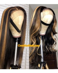 Emily88-Honey blonde highlights body wave human hair 360 wig