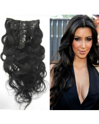 Brazilian virgin body wave Clips in hair extensions