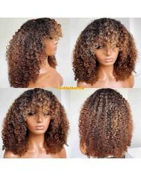 Emily85-Pre plucked 360 wig blonde highlight brown curly hair with bangs Brazailian virgin human hair