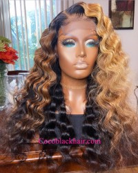 Angela 14-5x5 HD lace closure wig brown ombre wave 10A grade Brazilian virgin human hair