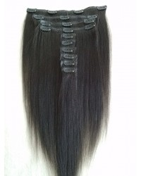 Brazilian virgin yaki straight Clips in hair extensions