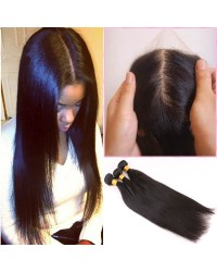 silk base closure & 3 bundles silky straight Chinese virgin