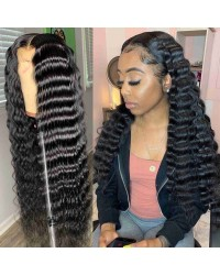 Emily35-Pre plucked Brazilian virgin crimped wave 360 wig