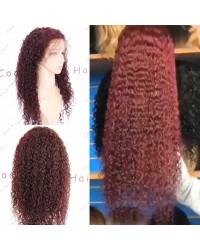 Emily68-Pre plucked dark red deep curly Brazilian virgin 360 wig