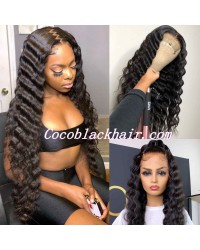 Jody04-deep wave 370 wig pre plucked Brazilian virgin human hair
