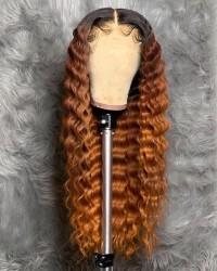 Emily71-Pre plucked Brazilian virgin deep wave ombre brown 360 wig