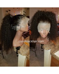 Emily12-Brazilian virgin kinky curly 360 lace frontal wig