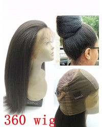 Emily01-kinky straight/ Italian yaki 360 lace frontal wig