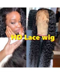 "Laila-HD Lace Wig Deep Curly Pre plucked Brazilian 150% density glueless 6"" lace front wig"