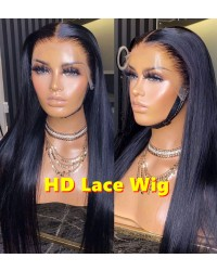 Zora-10A HD Lace silky straight 13x6 wig Brazilian virgin human hair Pre plucked hairline