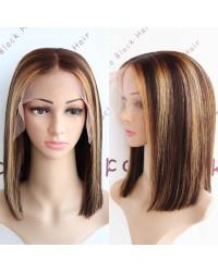BOB17-Hightlights bob glueless lace front 13x6 wig yaki mixed Italian yaki Brazilian virgin hair