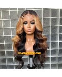 Angela 31-Honey blonde highlights Body Wave human hair 5x5 HD lace closure wig