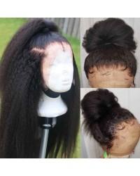 Emily01-kinky straight/ Italian yaki 360 wig Brazilian virgin human hair