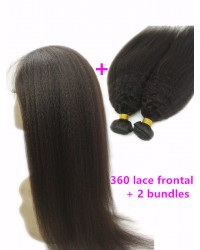 360 lace frontal with 2 bundles Brazilian virgin kinky straight