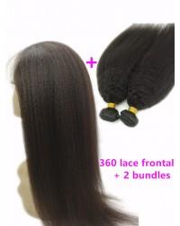 360 lace frontal with 2 bundles Brazilian virgin kinky straight