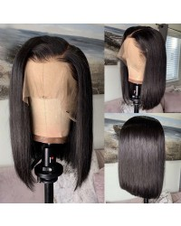 Bose-Pre plucked bob 13x6 wig Brazilian virgin 150% density