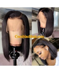 Bose-Pre plucked blunt cut bob 13x6 wig Brazilian virgin human hair