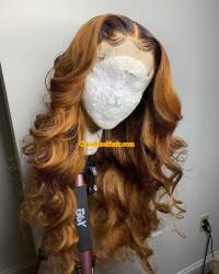 Emily65-Pre plucked loose wave ombre color 360 wig 100% Brazilian virgin hair