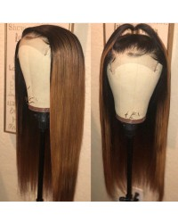 Vivien-Chinese virgin yaki straight ombre full lace wig