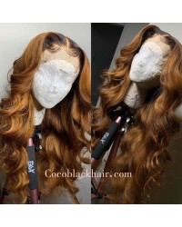 Emily65-Pre plucked loose wave ombre color 360 wig 100% Brazilian virgin hair