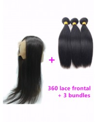360 frontal with 3 bundles Brazilian virgin straight