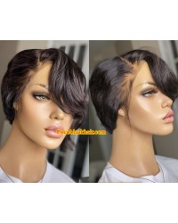 Hope-Indian virgin 13x6 glueless lace front wig short hair summer bob hair