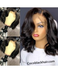 Emily46-pre plucked Brazilian wave bob 360 wig bleached knots