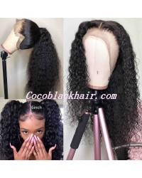 Jody02-wet curly 370 wig pre plucked Brazilian virgin human hair