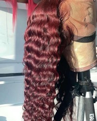 Brenda-Brazilian virgin Wine Red deep wave pre plucked lace wig