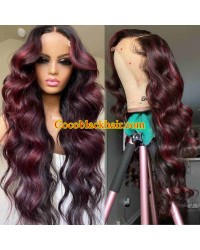 Leah-Brazilian virgin Wine Red with natural color roots Loose wave hair