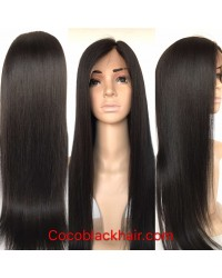 Emily03-Yaki straight 360 wig Brazilian virgin human hair bleached knots